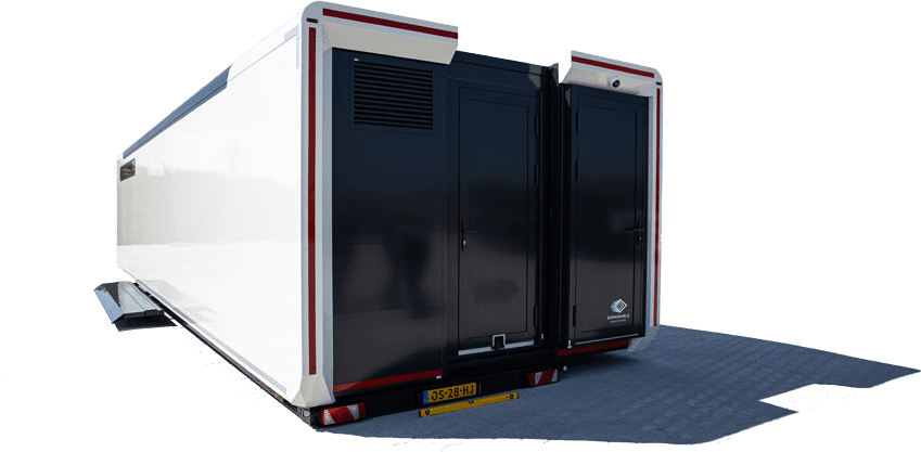 mobile clinic, a large white rectangular trailer that can be transported via truck. It is placed in places where there are no hospitals in the immediate vicinity. Black door with all its equipment as a small ambulance