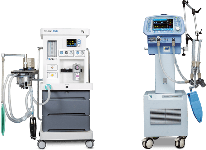 Ventilation. two machines of different shapes. The first is used for anesthesia and the second is a ventilation to help with breathing