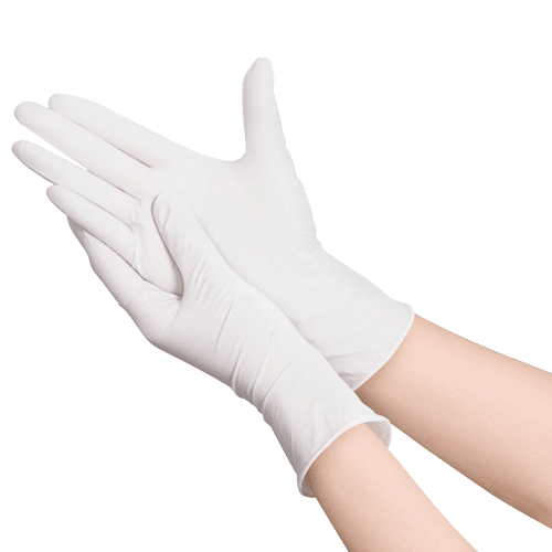 Disposable Latex Medical Gloves. White Color. Gloves are made from plant-based rubber