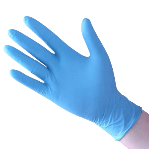 Disposable Unitrile Medical Gloves. Blue color.