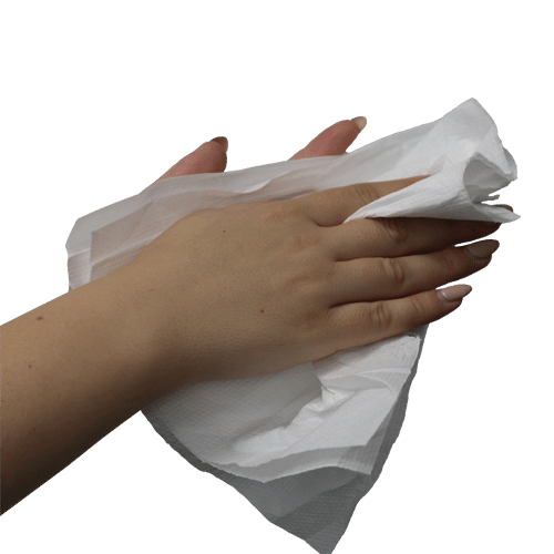 Hand Sanitiser Wipes. Nurse is holding Hand Sanitiser Wipes and cleaning her hands for next patient.