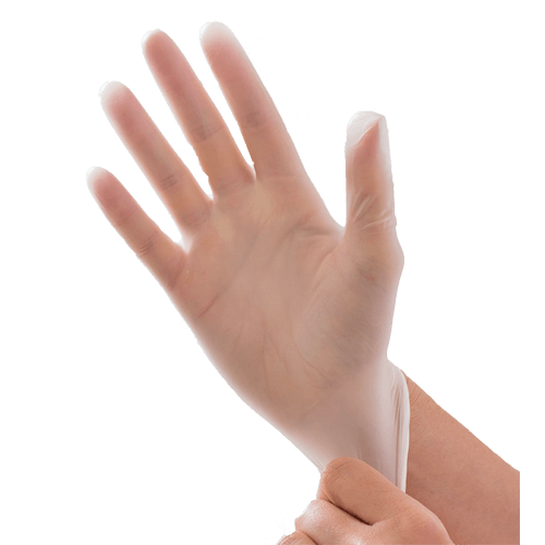 Disposable Vinyl Gloves. Vinyl gloves are not chemical resistant. the color is white transparent