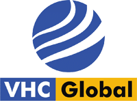 VHG Logo, Healthcare logo, medical supplier, with two colors blue and yellow. The circle represents a globe with a lot of blue colors that represent water. The yellow color represents the sun and a better future for the Healthcare industry.