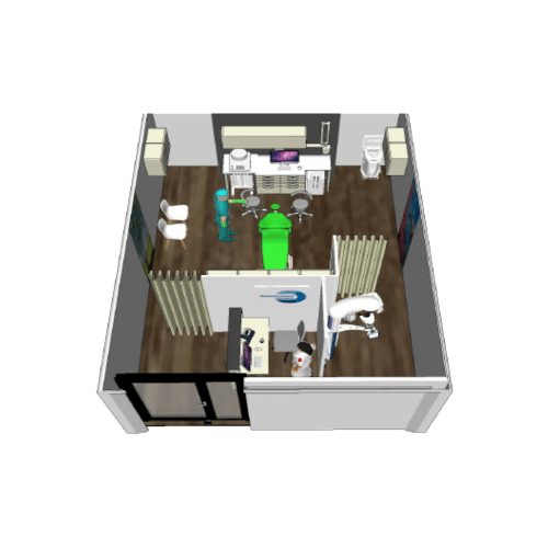 detail of the mobile clinic room. lobby, examination of the patient. front view