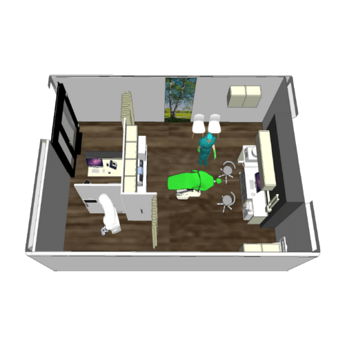 detail of the mobile clinic room. lobby, examination of the patient