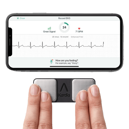 A device that's designed to mimic the results of a single lead ECG and it comes with a handy device. The patient places their fingers on the device for 30 seconds, connects their device to their mobile phone and they'll be able to record a 30-second ECG trace single leaf and the idea is that it's used to detect AF atrial fibrillation the process has been through research has got a seed mark and it's been shown to have an 85 percent sensitivity for detecting AF and a 90 percent specificity.