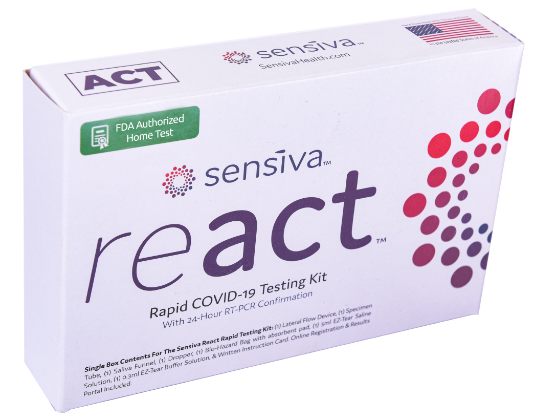 PCR coronavirus test box. White with prominent manufacturer MACCURA