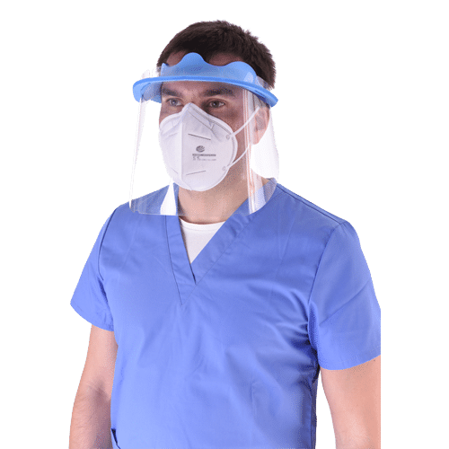 Face Shield. A plastic material that covers all face to protect airways from bacteria. This face shield has a loop over forehead.